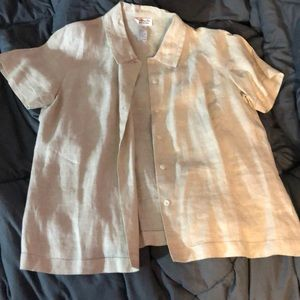 Talbots beige button up blouse.